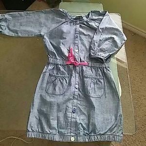 Long sleeved light denim dress